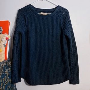 loft blue cable knit sweater